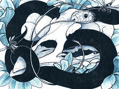4 Buddies watercolor skull snake poster texture ink drawing illustration