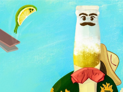 corona beer and his friend lime yei procreate mexican editorial beer lime character corona beer illustration