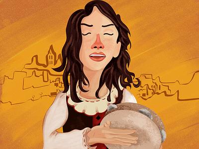 Under the sun of Italy adobe illustrator adobe photoshop traditional music instrument illustration italy sun