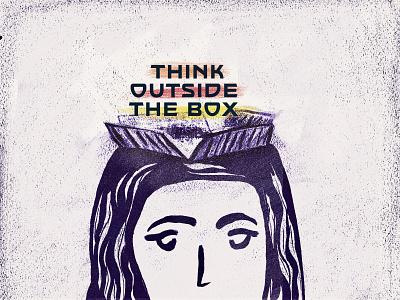 Think outside the box drawing editorial adobe photoshop procreate illustration metaphor creativity think outside the box
