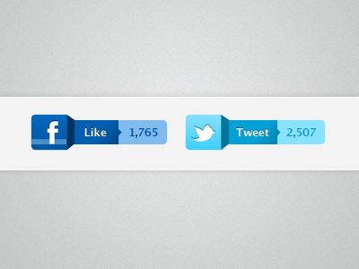 Like & Tweet ui buttons facebook like twitter tweet twitter bird