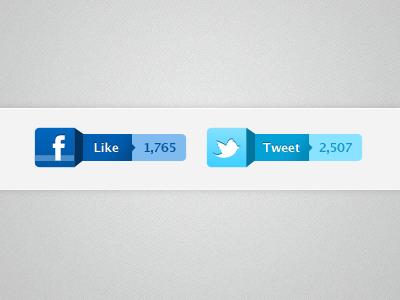 Like & Tweet ui buttons facebook like twitter tweet twitter bird
