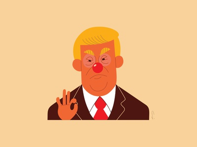 Trump Clown cartoon caricature trump art illustration vector