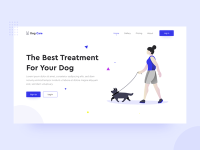 Dog Care - header exploration branding ui hero header running purple noansa landing page illustration event start service pets love interface dog cat animals adopt