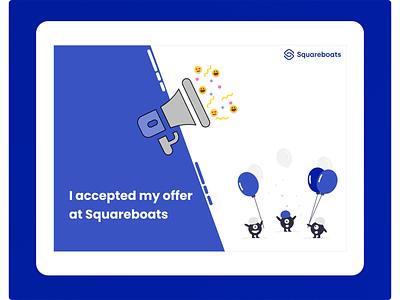 Job Offer Accepted poster design blue bots announcement job offeraccepted offer joboffer user interface design illustration design ux user experience figma