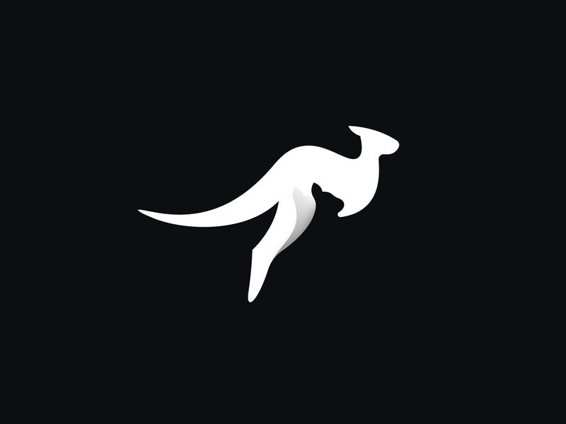 Kangaroo with joey pouch mark negative space australia logo symbol pet baby animal kangaroo