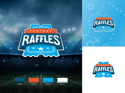 Fantasy Raffles :: Logo color palette shield stadium sports ticket raffle footbal fantasy word mark wordmark all caps blue logo mark logotype logo branding brand