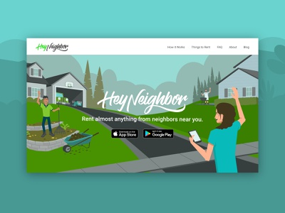 Hey Neighbor :: Hero application outdoors people blue green storage house home shopping residential rent illustration style illustration hero ui web