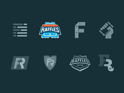Fantasy Raffles :: Logo Exploration sports exploration ticket raffle football fantasy word mark wordmark all caps blue logo mark logotype logo branding brand