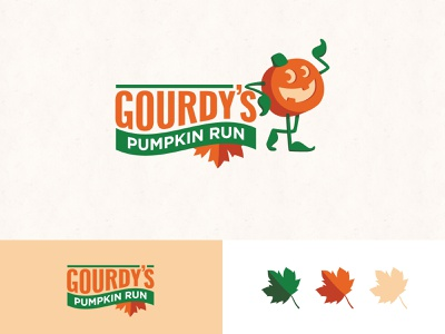 Gourdy's Pumpkin Run :: Logo mascot orange run 5k fall colors fun. leaves autumn fall pumpkin character branding logo vector illustration
