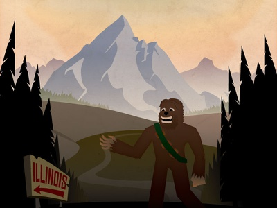Chewsquatch illustration landscape mountain music festival chewbacca sasquatch bigfoot