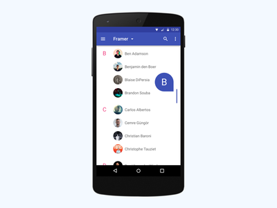 Contacts Scroll contact lollipop android material material design animation interaction example prototype prototyping framer framerjs