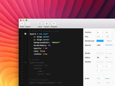 Framer v75 panel properties ui colors editor theme syntax refresh app framer js framerjs framer