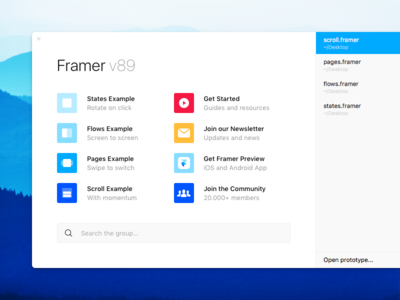 Welcome Window os x window welcome resources examples design prototyping framer for mac framer