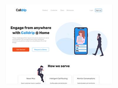Calldrip @ Home Landing Quick Draft 2 webdesign figma web ux ui illustration design dailyui