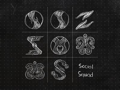Social Squad Logo vector typography simple modern s abstract sketch mark illustration identity icon design logo brand branding