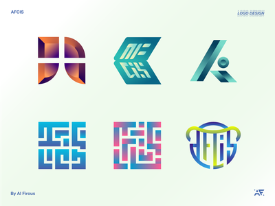 AFCIS study college monogram logo monogram kufi calligraphy kufic kufi branding design brand identity gradient logo gradients gradient color gradient logo design logos logodesign logotype typography branding logo