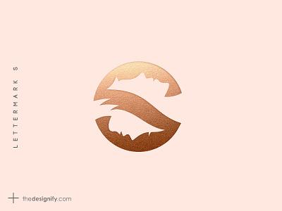 Letter S Logo logotype inital negative space whitespace bronze gold metalic elegant branding design designs sale logo logos silhouette beauty female male s letter