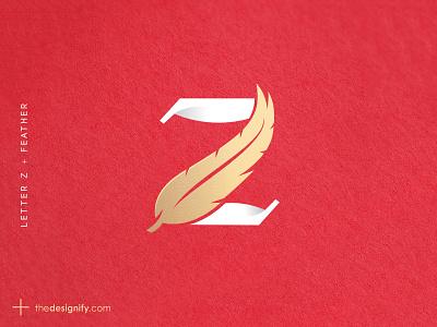 Letter Z Logo modren red golden elegant soft feather designer simple minimal letters designs logos brandmark lettermark monogram design z letter logo