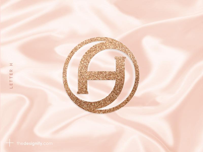 Letter H Logo alphabet letter h premium femine golden gliter caretive designer logo symbol designs logos branding elegant design brandmark logomark logotype initial