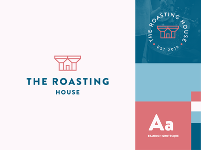 The Roasting House badge roaster coffee jome house stroke identity abstract flat icon mark clever branding minimal logo