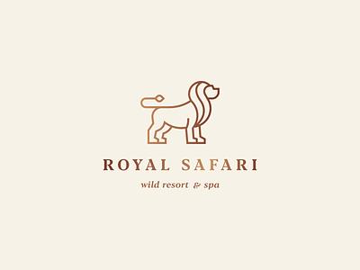 Royal safari gradient king lion elegant luxury identity animal abstract flat icon mark clever branding minimal logo