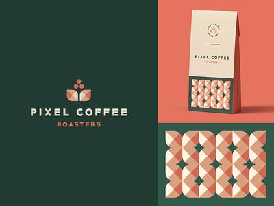 Pixel Coffee Roasters pattern label package roaster pixel leaf bean coffee identity abstract flat mark icon clever branding minimal logo