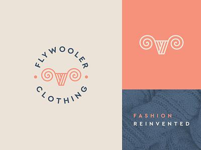 Flywooler badge clothing woolen antler goat ibex luxury elegant fashion animal identity abstract flat icon mark clever branding minimal logo