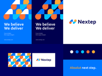 Nextep - identity system next step n clean typface geometry pattern letter identity abstract flat icon mark clever branding minimal logo