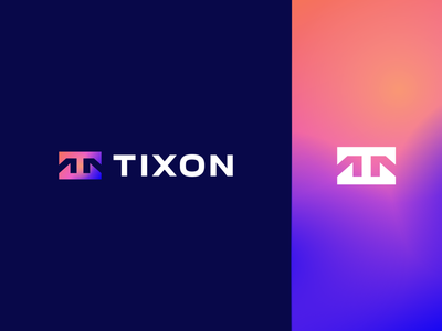 Tixon geometry technology typeface negativespace gradient letter identity abstract flat icon mark clever branding minimal logo