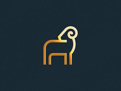 Ram luxury elegant stroke line antler wild ram letter animal identity abstract flat icon mark clever branding minimal logo