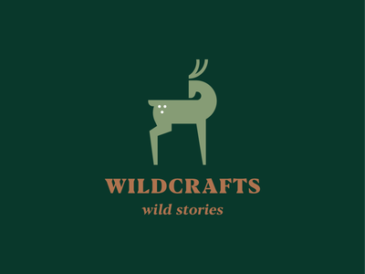 Wildcrafts typface clothing wild luxury elegant antler deer stag animal identity abstract flat icon mark clever branding minimal logo
