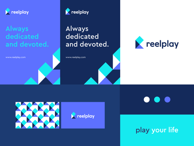 Reelplay - Identity system typeface r geometry pattern play letter identity abstract flat icon mark clever branding minimal logo