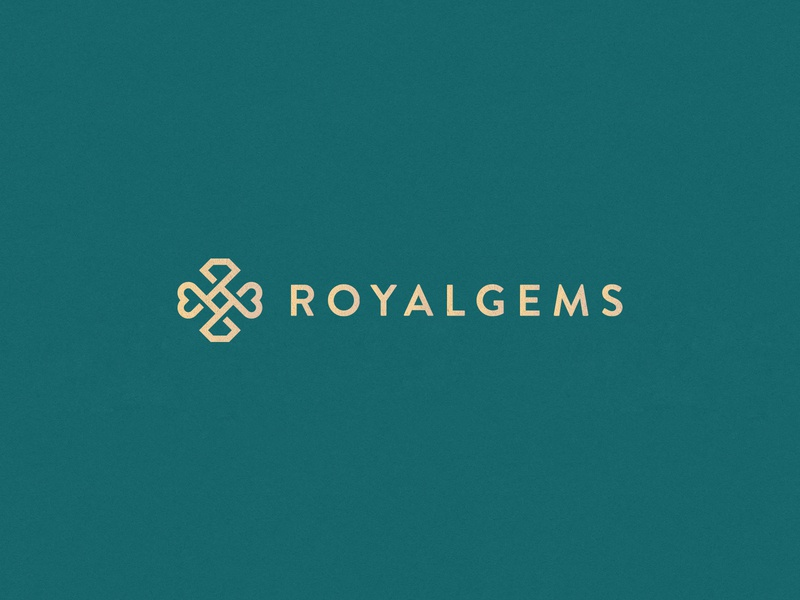 Royalgems stroke line heart gold diamond gem jewelry fashion luxury elegant gradient abstract flat icon mark clever branding minimal logo