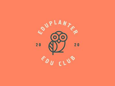 Eduplanter badge stroke line plant owl bird animal identity abstract flat icon mark clever branding minimal logo