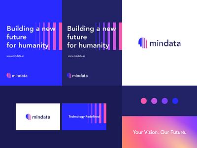 Mindata - identity system pattern typeface artificialintelligence ai data intelligence intelligent brain human letter gradient identity abstract flat icon mark clever branding minimal logo