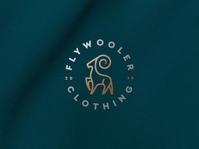 Flywooler clothing stag deer stroke line gold emblem apparel fashion clothing luxury ibex animal flat icon mark clever branding minimal logo