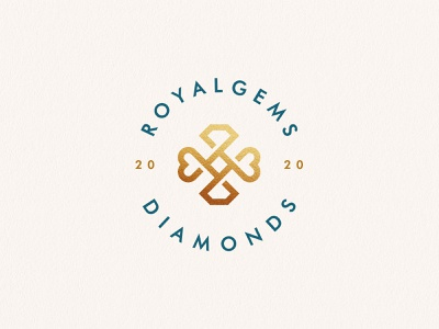 Royalgems diamonds care love gems stone heart diamond gold fashion luxury elegant gradient identity abstract flat icon mark clever branding minimal logo