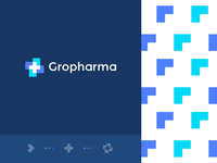 Gropharma pattern medicine medical pharma negativespace geometry cross health growth grow letter identity flat abstract icon mark clever branding minimal logo
