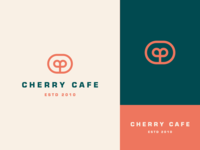 Cherry cafe stroke line coffee geometry luxury elegant plant fruit cherry cafe letter identity abstract flat icon mark clever branding minimal logo