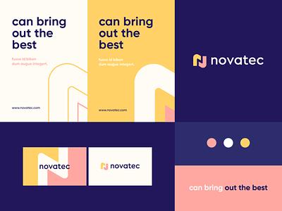 Novatec - identity system negativespace typeface geometry pattern monogram n letter identity abstract flat icon mark clever branding minimal logo