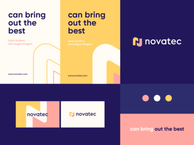 Novatec - identity system negativespace typeface geometry pattern monogram n letter identity abstract flat icon mark clever branding minimal logo