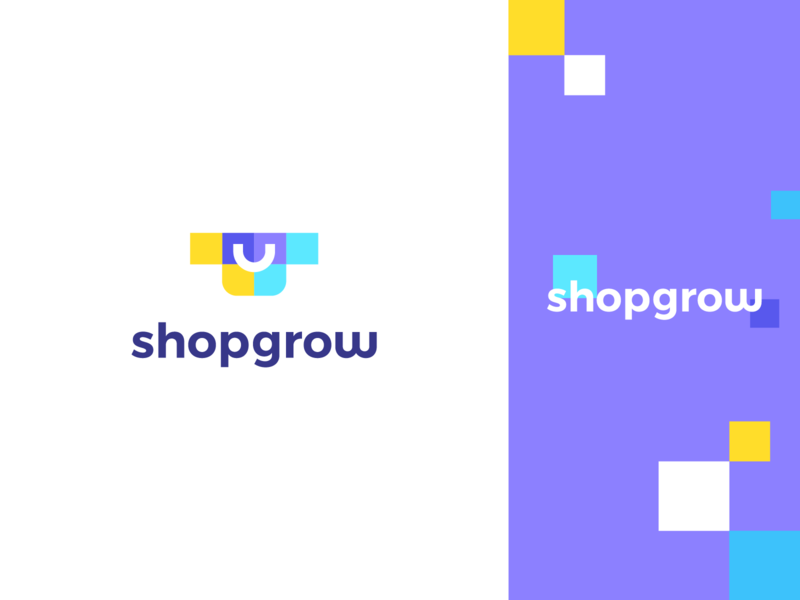 shopgrow data pattern pixels growth arrow gow happy smile cart bag shop identity icon abstract flat mark clever branding minimal logo