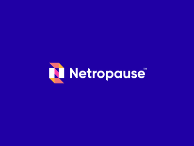 Netropause arrow tech technology geometry hold stop typeface digital pixel growth letter n design flat icon mark clever branding minimal logo