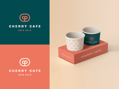 Cherry cafe -  Packaging line stroke typface geometry cherry cup elegant pattern packaging coffee cafe identity abstract flat icon mark clever branding minimal logo