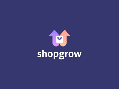 Shopgrow tech arrow online technology shopping bag negativespace upward increase growth gradient identity abstract flat icon mark clever branding minimal logo