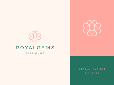 Royalgems fashion royal stroke line elegant star diamond stones gems identity luxury abstract flat icon mark clever branding minimal logo