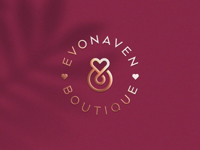 Evonaven Boutique clothing apparel gold gradient line heart premium luxury fashion elegant letter identity abstract flat icon mark clever branding minimal logo