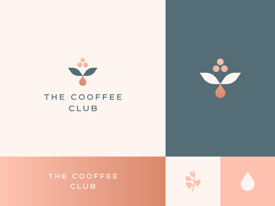 The cooffee club geometry nature cafe typeface leaf bean drop plant coffee elegant gradient identity abstract flat icon mark clever branding minimal logo