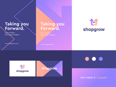 shopgrow - identity system technology pattern geometry increase growth arrow negativespace bag shopping shop gradient identity abstract flat icon mark clever branding minimal logo